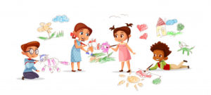 dzieci-rysuje-obrazki-z-kredowymi-ołowkami-kreskowka-żartują-dziecina_33099-188